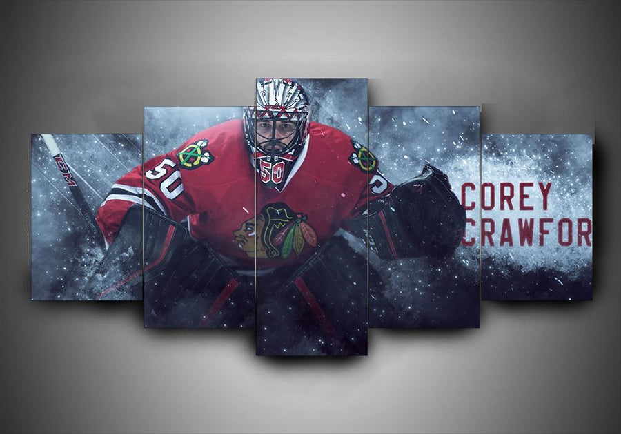 Chicago Blackhawks - Corey Crawfor - 5-Piece Canvas Wall Art - MyStorify