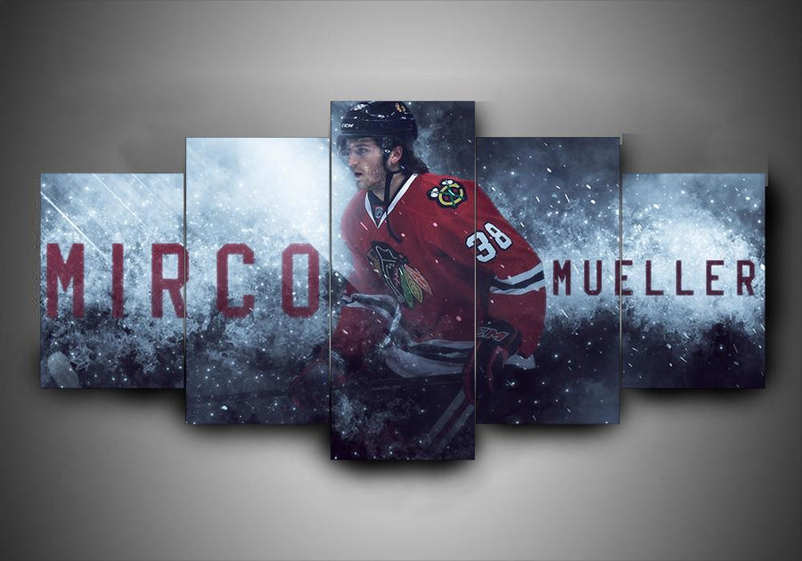 Chicago Blackhawks - Mirco Mueller - 5-Piece Canvas Wall Art - MyStorify
