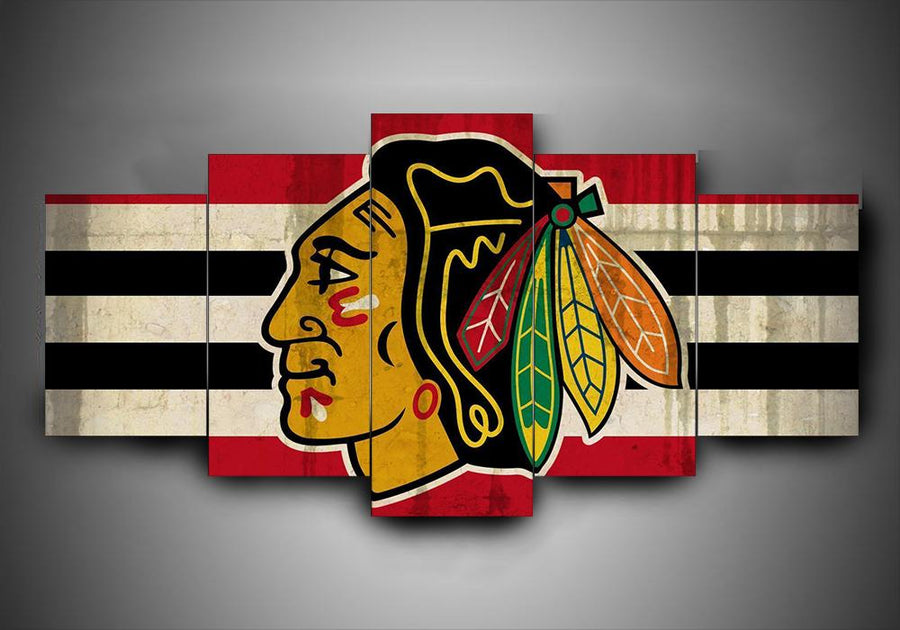 Chicago Blackhawks - Team (2 Styles) - 5-Piece Canvas Wall Art - MyStorify