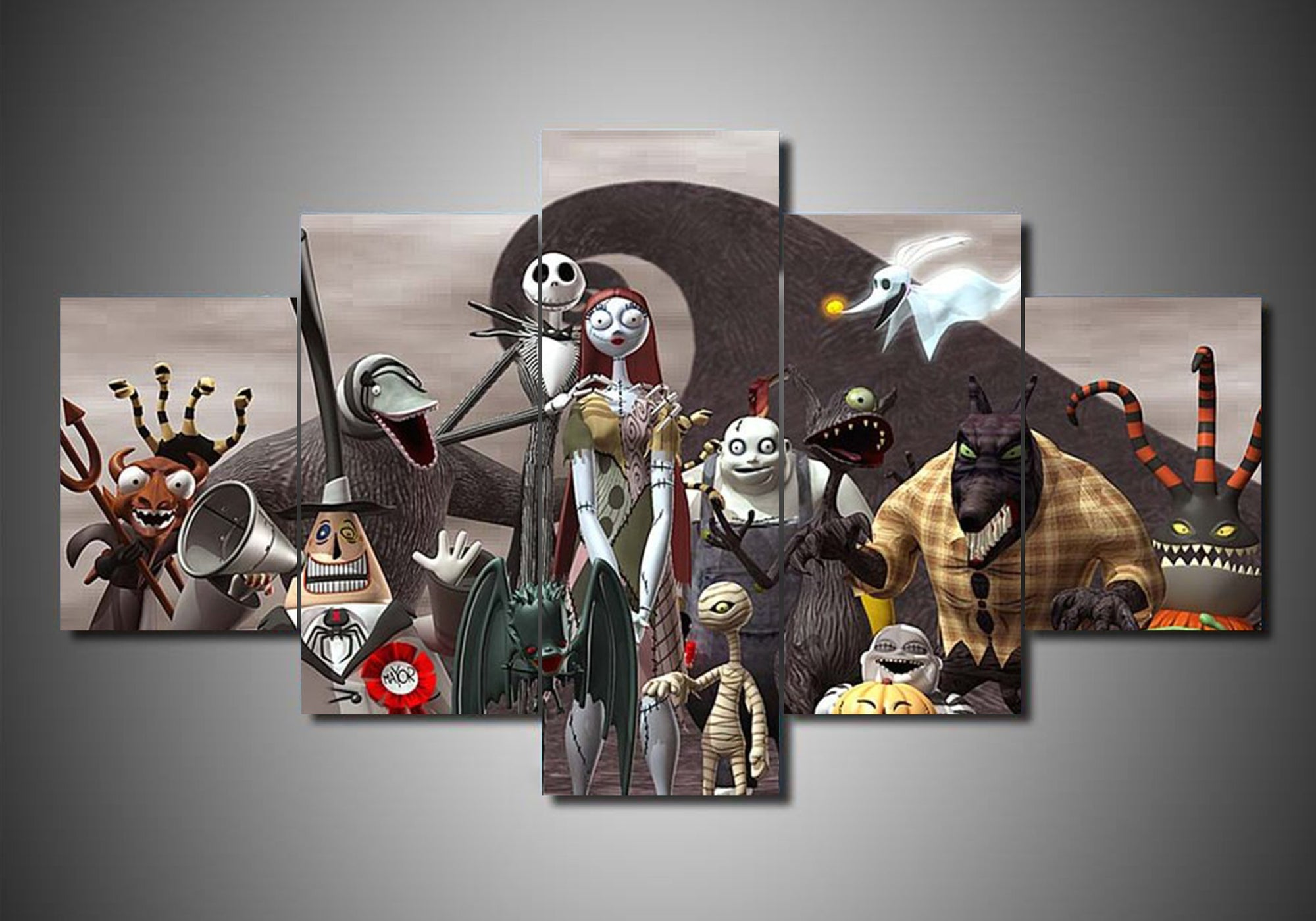 The Nightmare Before Christmas (9 Styles) - 5-Piece Canvas Wall Art ...