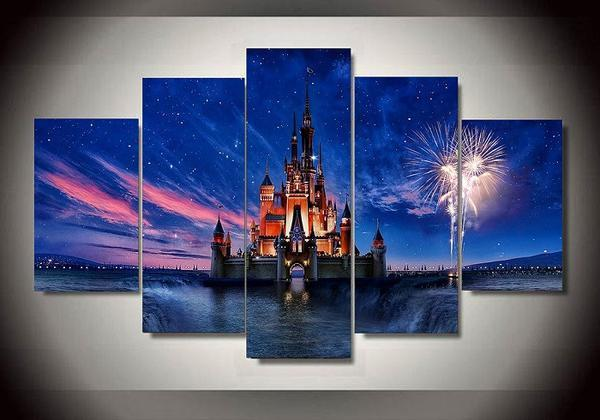 Disney Castle (5 Styles) - 5-Piece Canvas Wall Art