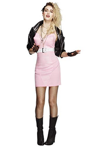 Fever Adult Womens 80s Rocker Diva Costume, Dress, Jacket, Belt, Necklace and Headband, Retro, Size M, 43477