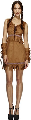 Fever Adult Womens Pocahontas Costume, Dress and Arm Cuffs, Western, Size: M, 32042