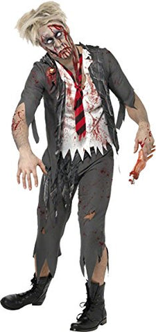 ADULT ZOMBIE SCHOOL BOY HALLOWEEN FANCY DRESS COSTUME L/fits up to chest 42-44