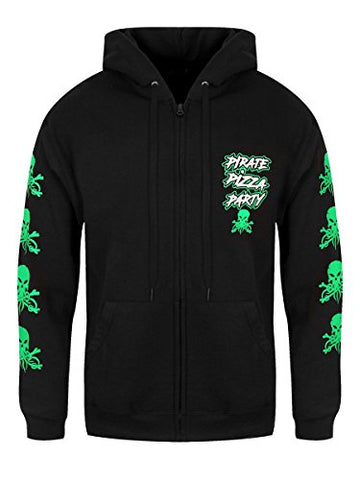 Alestorm Mens Pirate Pizza Party Zipped Hoodie Black