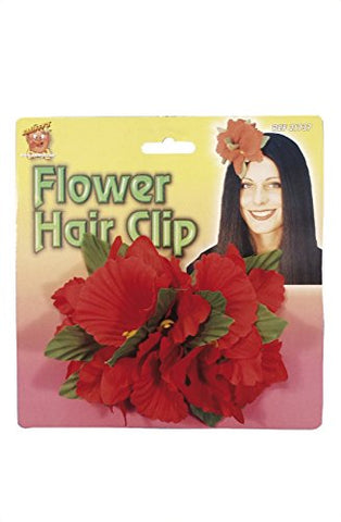 Smiffys Hawaiian Flower Hair Clip - Red