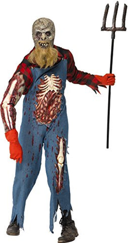 Smiffys Mens Hillbilly Zombie Costume, Jumpsuit, Mask Beard, Gloves and Bloody Guts Latex Sleeves, Size: M, 26862