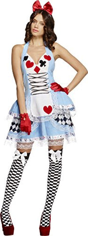 Fever Adult Womens Miss Wonderland Costume, Dress and Hair Bow, Once Upon a Time, Size: S, 21009