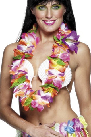 Smiffys Hawaiian Lei with Large Bright Flowers - Multi-Colour