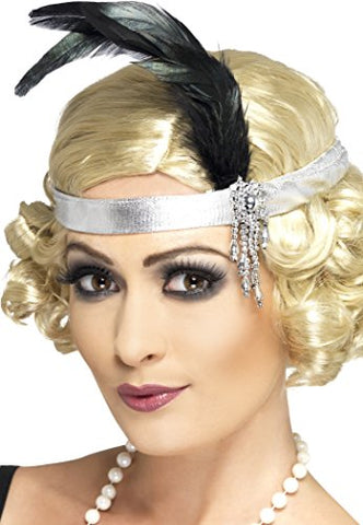 Smiffys Satin Charleston Headband with Feather and Jewel - Silve -Black