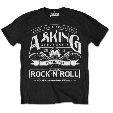 Asking Alexandria Mens RocknRoll Short Sleeve T-Shirt, Black, Small