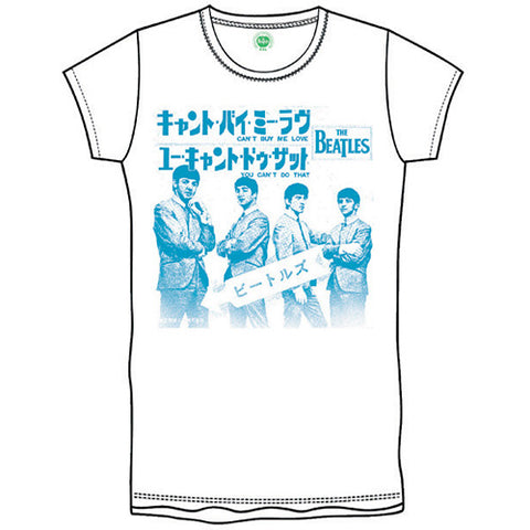 The Beatles Boys Cant Buy Me Love Japan Short Sleeve T-Shirt, White, Small