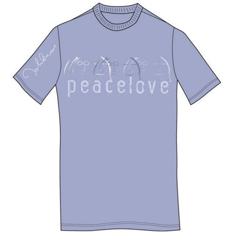 John Lennon Mens Peace and Love Short Sleeve T-Shirt, Blue, Medium