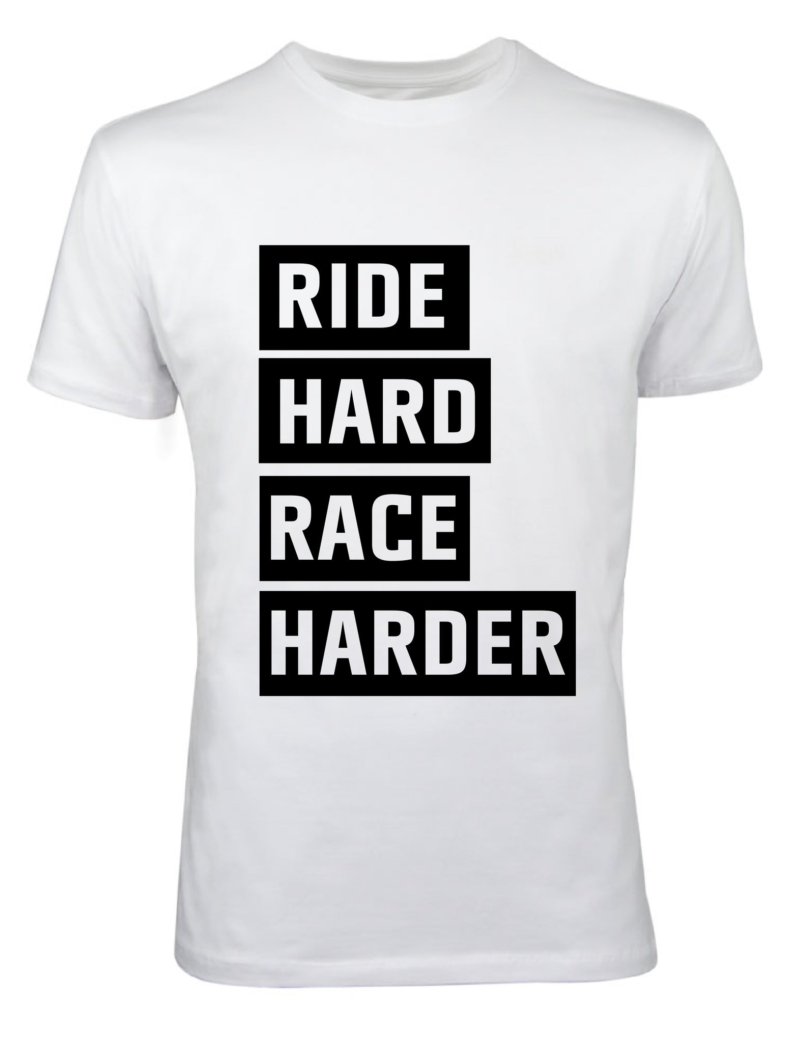 "T-Shirt Herren ""Ride Hard Race Harder"" weiß"