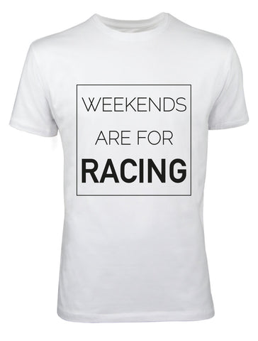 "T-Shirt Herren ""Weekends are for racing"" weiß"