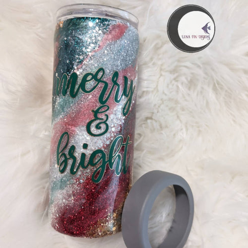 Merry & Bright tumbler and can cooler combo