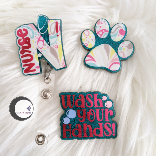 Nurse interchangeable badge reel set