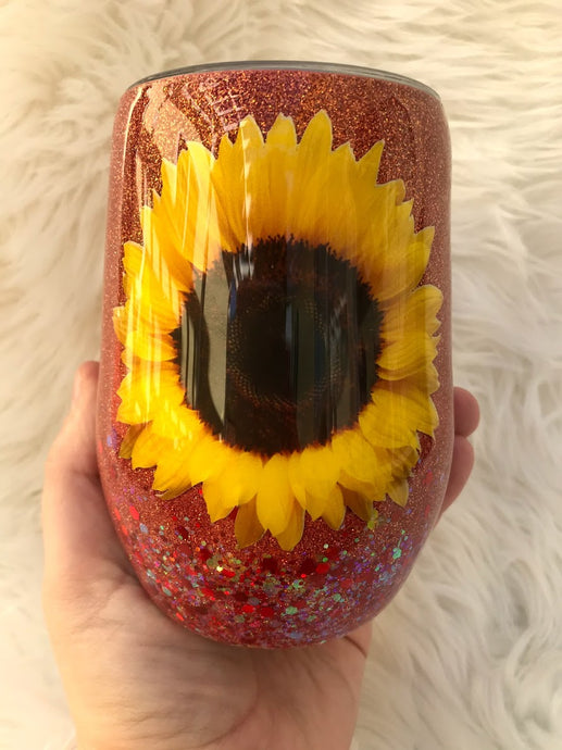 Autumn Sunflower Wine Tumbler