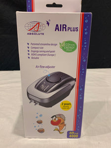 Air Plus-4000 air pump Dual outlets Adjustable flow control dial