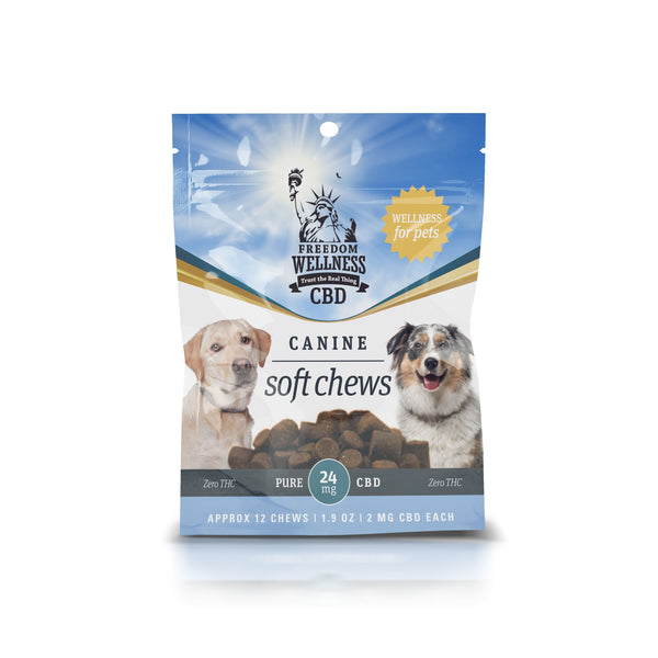 Front label packaging of a bag of freedom wellness CBD pet treats with a total contents of 24 mg CBD.