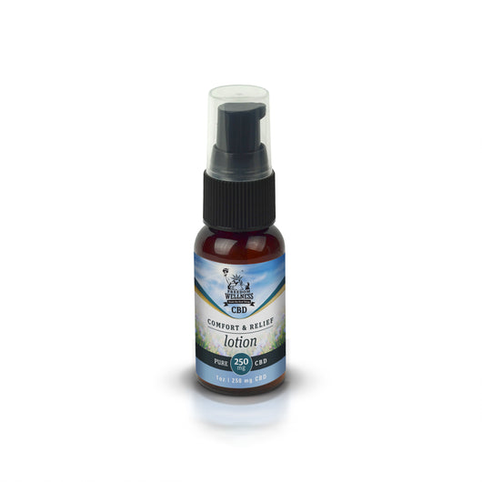 1 – 1oz bottle of Freedom Wellness comfort lotion with 250mg CBD. Brown glass bottle wrapped in a blue Freedom Wellness label with a black pump lid and plastic cap.
