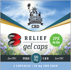 Close up of a Freedom Wellness CBD gel-cap 2-pack front packaging with a total contents of 50mg CBD.