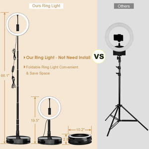 Foldable LED Ring Light with Stand