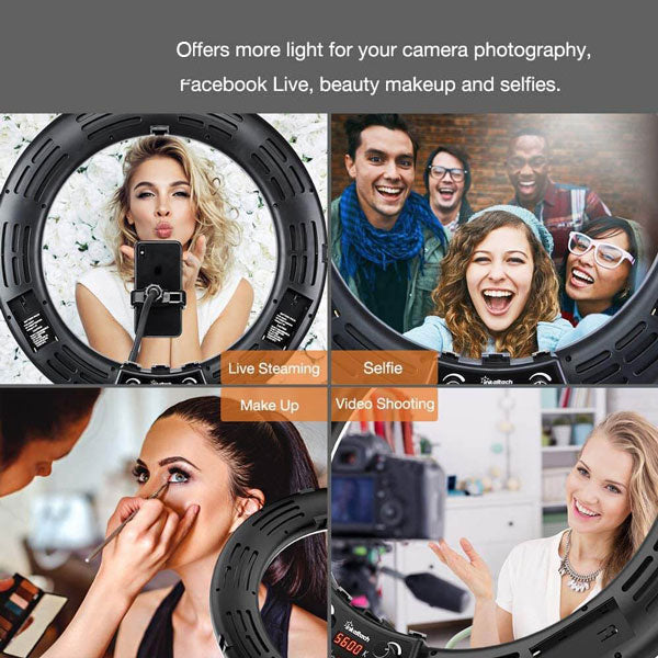 "YO-GOGO 18"" Professional Led Ring Light - LCD Screen & Battery Slot"