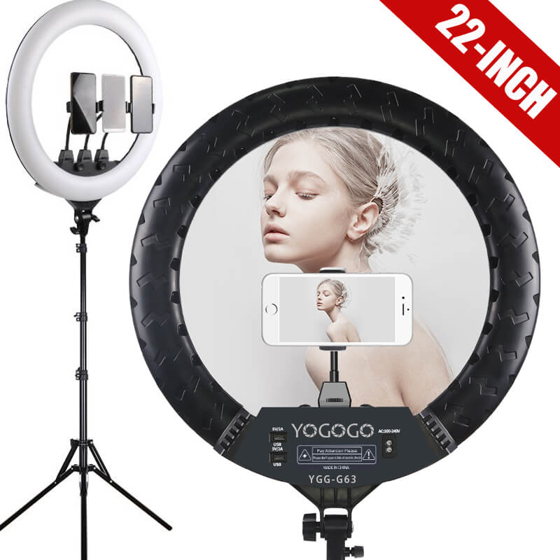 "YO-GOGO 22"" large professional ring light kit"