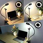 Clamp Phone Holder with Ring Light Flexible for Live Stream or Phone Dock