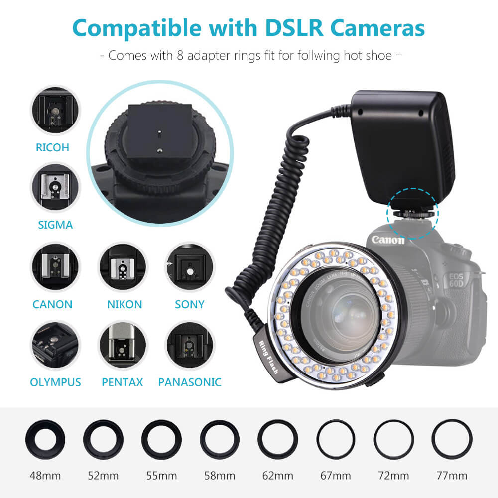 LED Macro Ring Flash For Canon Nikon Olympus