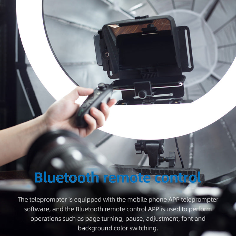 Portable Teleprompter With Remote Control for Phone and DSLR Recording