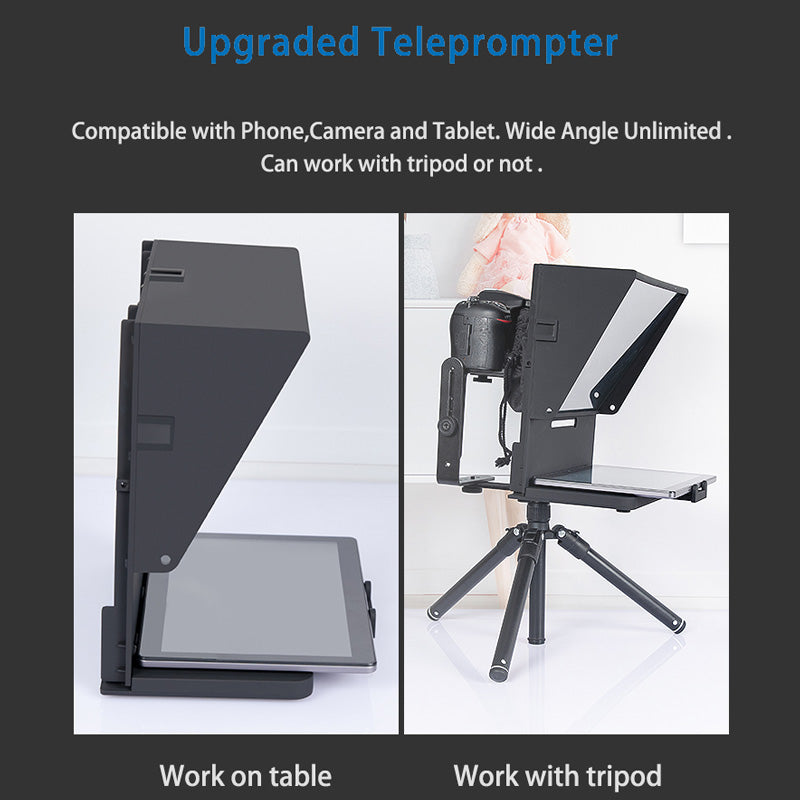 "Upgrade 12"" Tablet Phones Universal teleprompter for Phone and DSLR Recording"