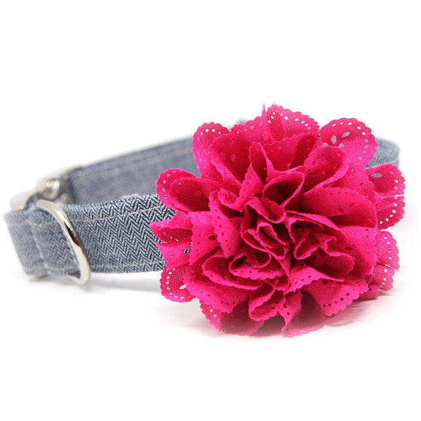 Flower Collar-Herringbone Navy