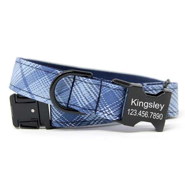 Sky Plaid Dog Collar