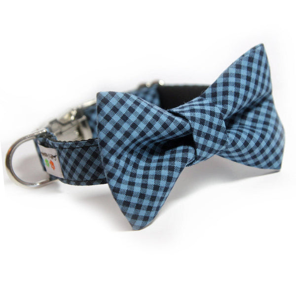 Blue buffalo plaid Bowtie