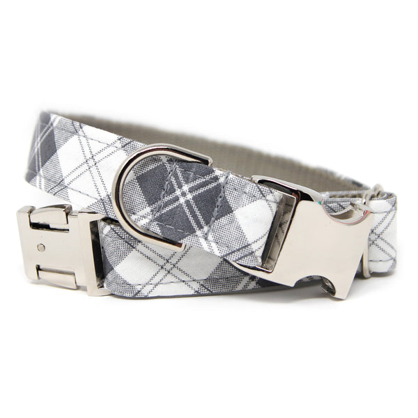 Lite Gray Plaid Dog Collar