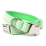 RTS Green Gingham Dog Collar