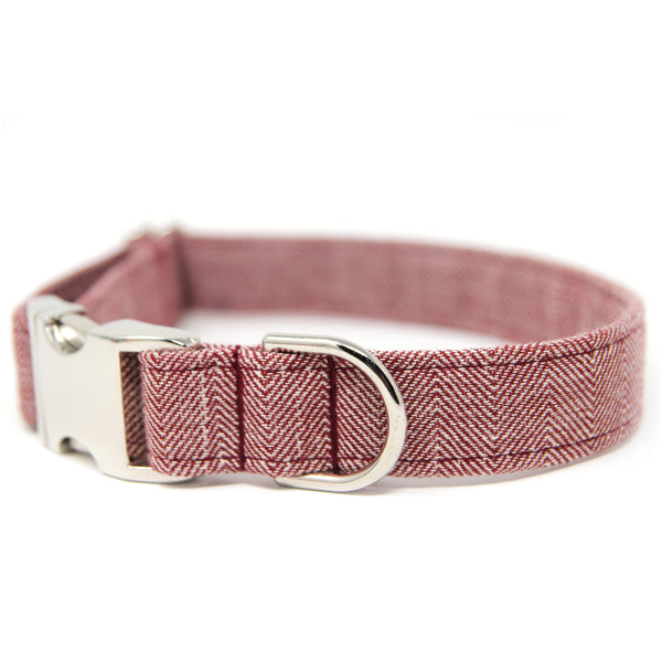 Herringbone Dog Collar Personalized-Wine Herringbone