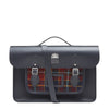 "Leather & Tweed 15"" Navy Batchel"