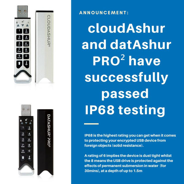 cloudAshur and datAshur PRO2 have successfully passed IP68 testing
