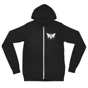 Deathmoth by Mitchell Tharp Unisex Zip Up Hoodie