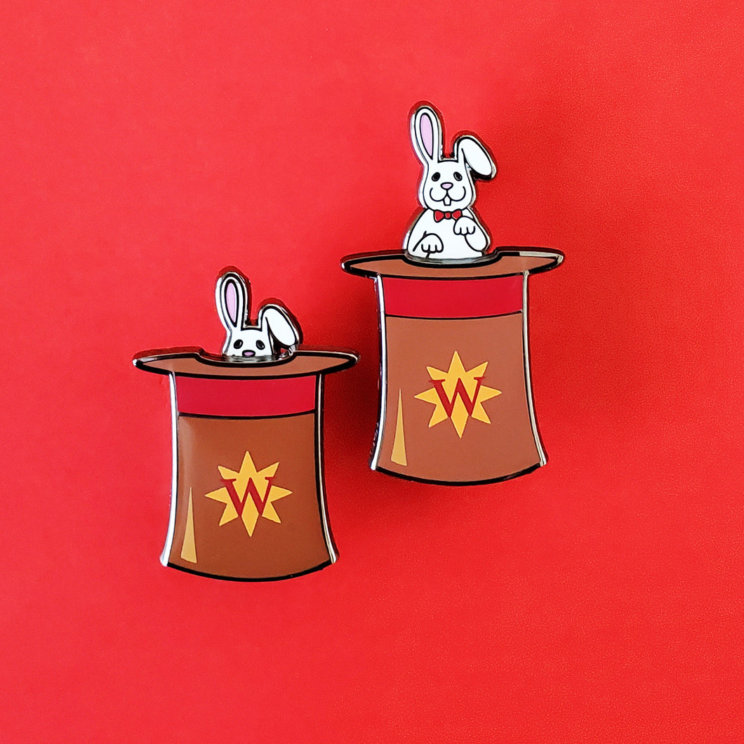 Rabbit In Hat Slider Enamel Pin