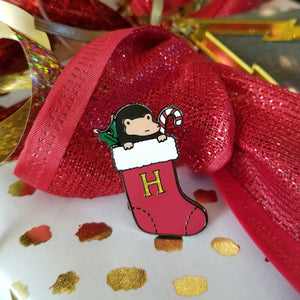 Red Holiday Stocking Baby Magical Creature Enamel Pin