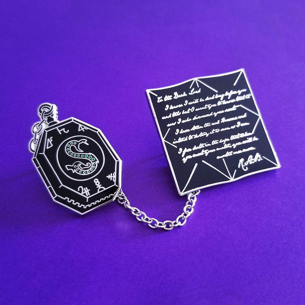 The Locket & The Letter Enamel Pins