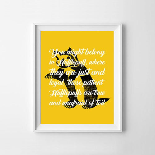 Hufflepuff Sorting Hat Quote Digital Art Print