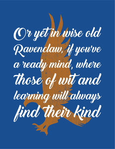 Ravenclaw Sorting Hat Quote Digital Art Print