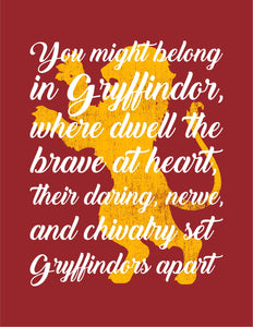 Gryffindor Sorting Hat Quote Digital Art Print