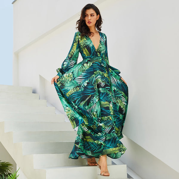 Long Sleeve Dress Green Tropical Beach