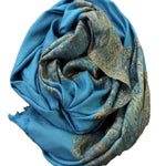 Pacific Blue Multipurpose Shawl/Scarf - With Tassels - Koozi Life